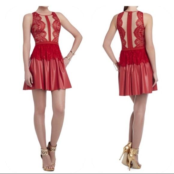 2b303a3e2b7 BCBGMaxAzria Dresses   Skirts - BCBG Layton Lace Dress Leather Red   Nude  ...
